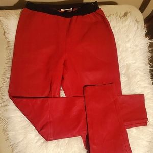 Italian Soft Leather Red Pants